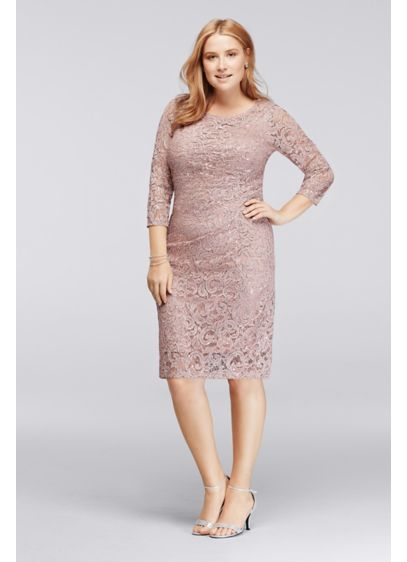 Plus Size Sequin Lace Dress with 3/4 Sleeves | David\'s Bridal