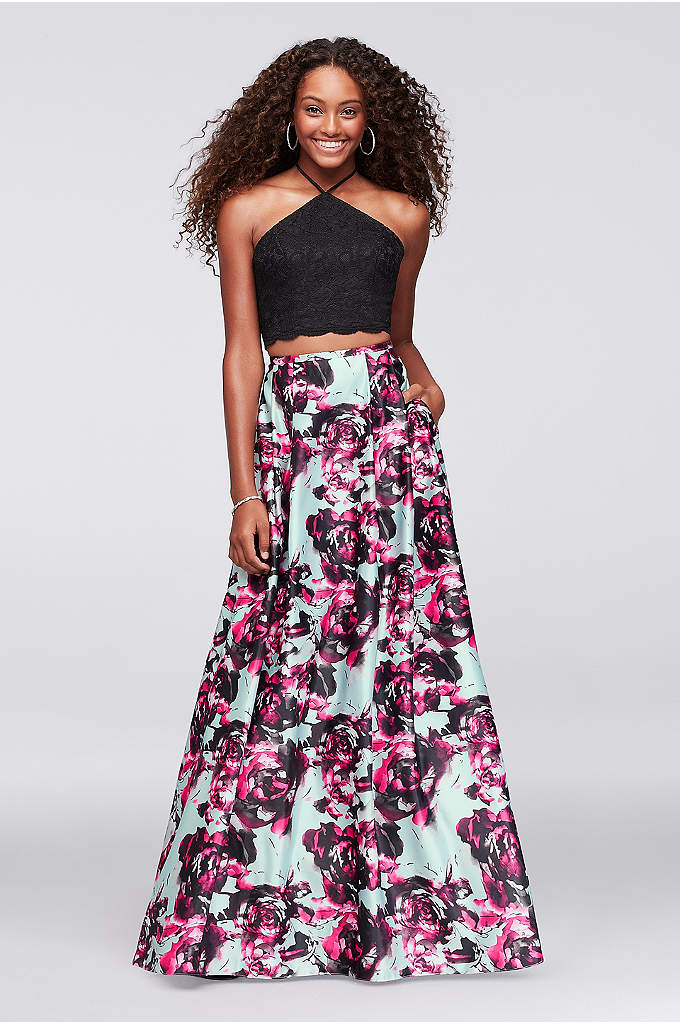 Two-Piece Dress with Printed Satin Skirt - Scalloped lace softens the sleek angles of this