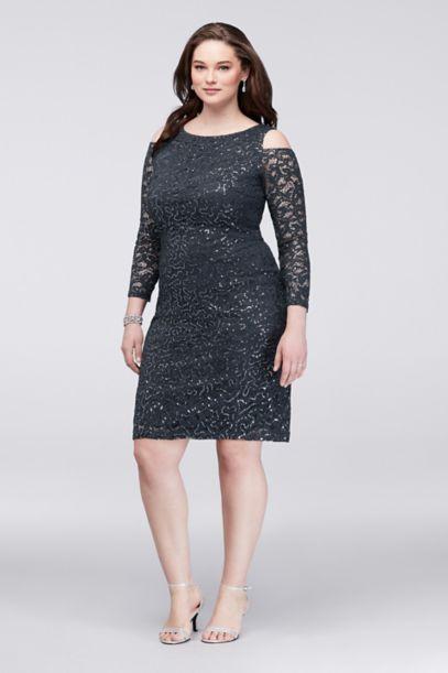 cold-shoulder lace plus size cocktail dress | david's bridal