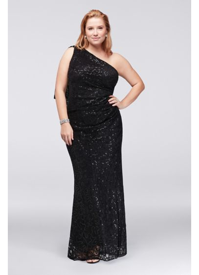 One-Shoulder Sequin Lace Plus Size Dress | David\'s Bridal