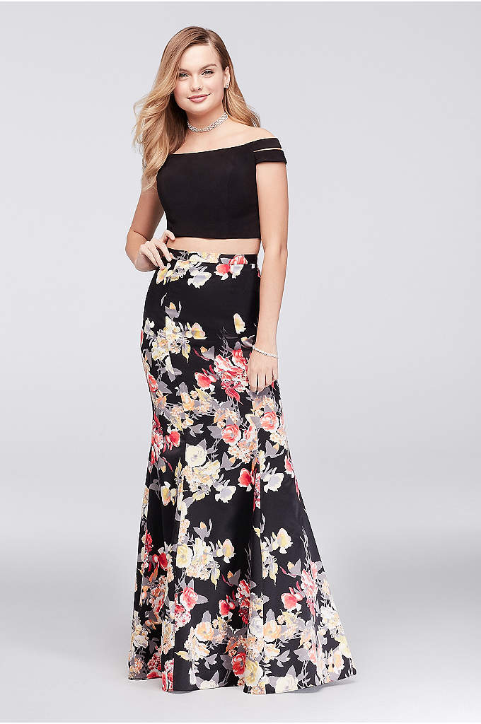 Split Sleeve Printed Charmeuse Two-Piece Dress - Split off-the-shoulder sleeves make the jersey crop top