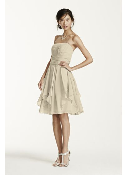 Short Ivory Soft & Flowy David's Bridal Bridesmaid Dress