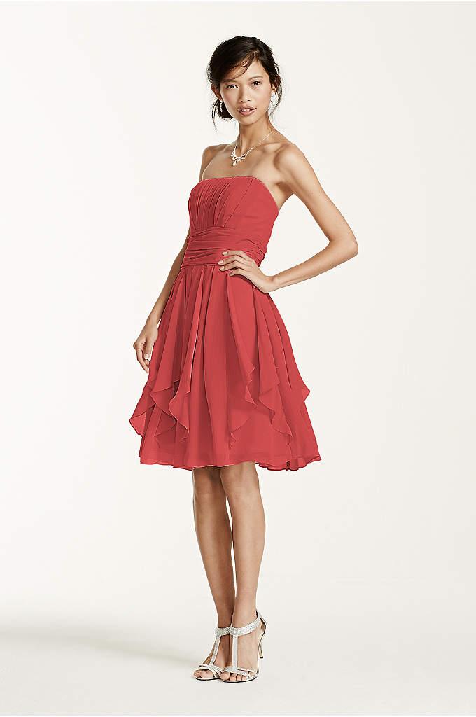Strapless Chiffon Plus Size Dress with Beading | David's Bridal