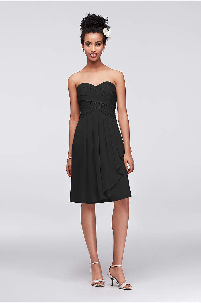 Extra Length Short Crinkle Chiffon Dress - This strapless style is great for a bridesmaid