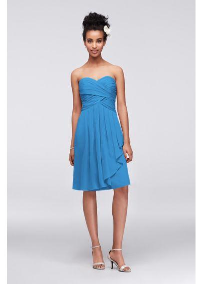 Extra Length Strapless Short Crinkle Chiffon Dress 2XLF14847