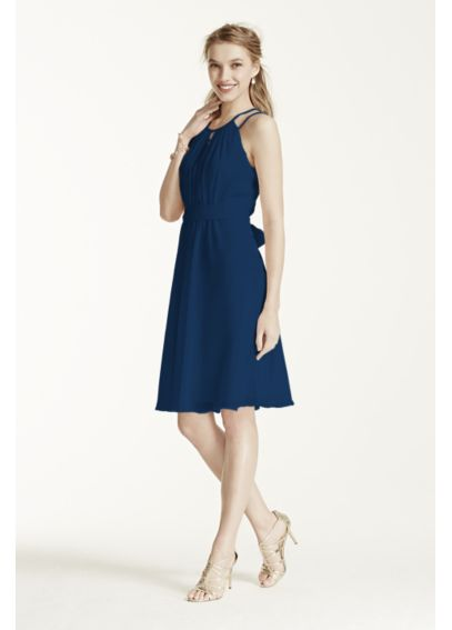 Extra Length Sleeveless Chiffon Short Dress 2XLF15421