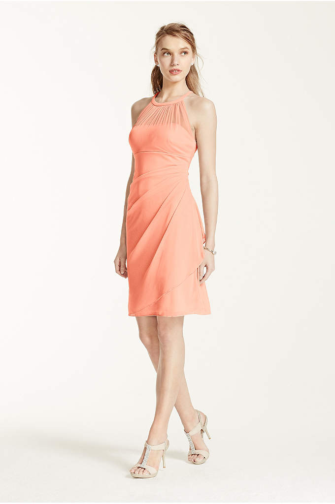 Extra Length Short Mesh Dress with Side Cascade - A stylish, short and chic bridesmaid dress that