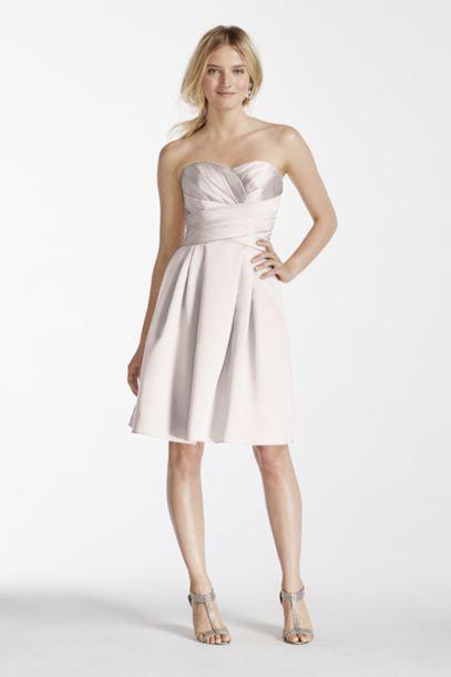 Extra Length Short Strapless Satin Dress | David's Bridal