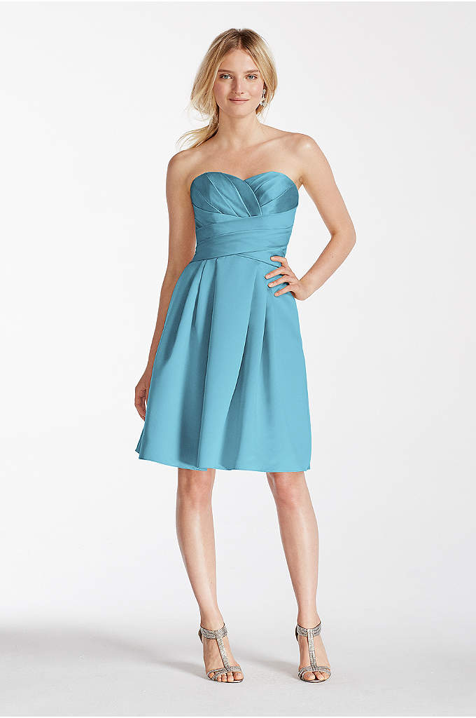 Extra Length Short Strapless Satin Dress - Your bridesmaids will look elegant and chic in