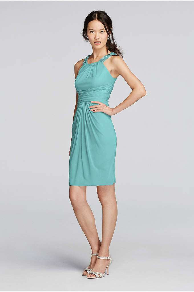 Extra Length Mesh Dress with High Neck Beading