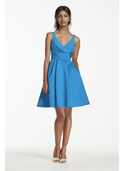 Short Blue Structured David's Bridal Bridesmaid Dress
