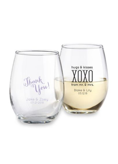 Personalized Stemless Wine Glass - Wedding Gifts & Decorations