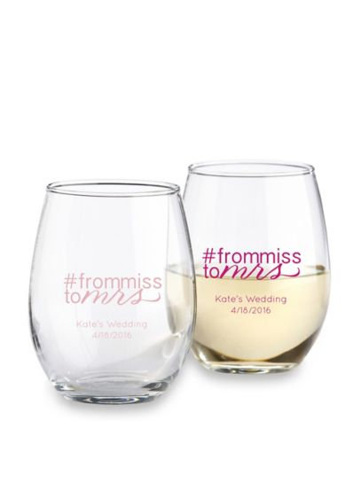 DB Exclusive Personalized Stemless Wine Glass 9oz - Wedding Gifts & Decorations