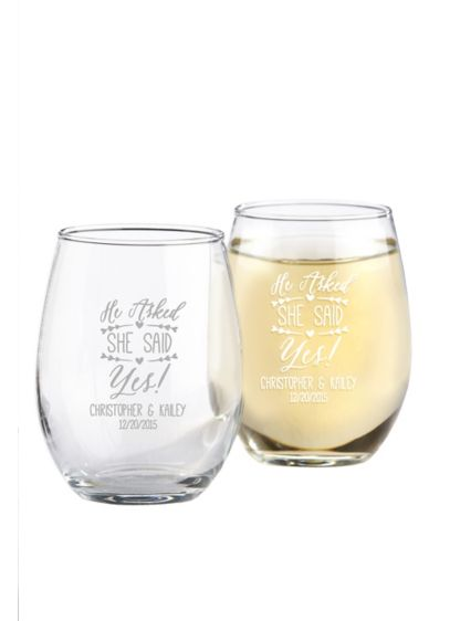 Personalized She Said Yes Stemless Wine Glass - Wedding Gifts & Decorations