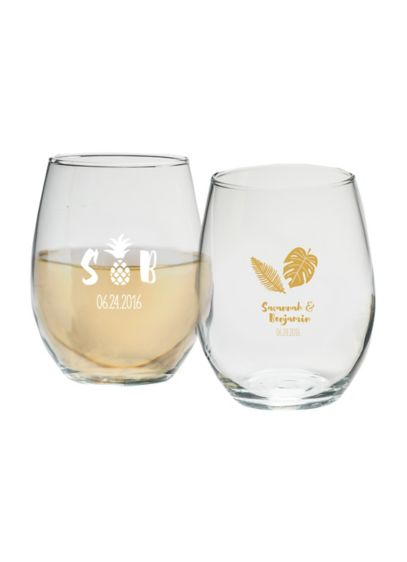 Personalized Pineapples 9 oz Stemless Wine Glass - Wedding Gifts & Decorations