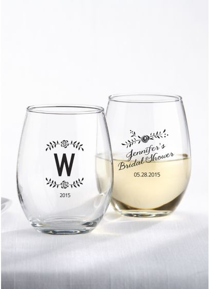 Personalized Rustic Shower Stemless Wine Glass - Wedding Gifts & Decorations