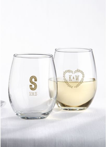 Personalized Rustic Wedding Stemless Wine Glass - Wedding Gifts & Decorations