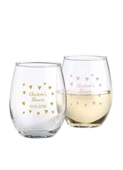 Personalized Sweet Heart Stemless Wine Glass - Wedding Gifts & Decorations