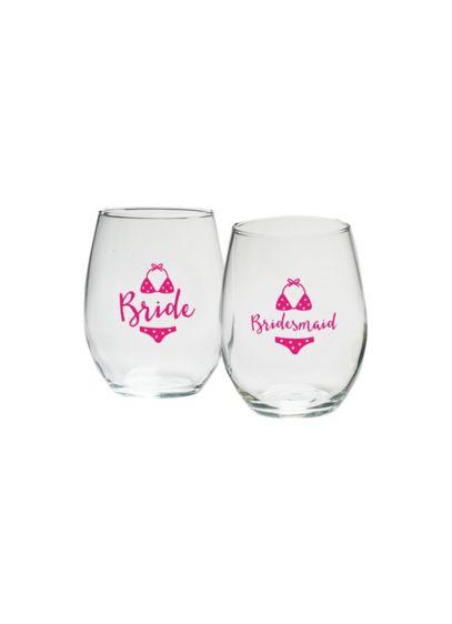 (Bridal Party Bikini 15 oz Stemless Wine Set of 4)