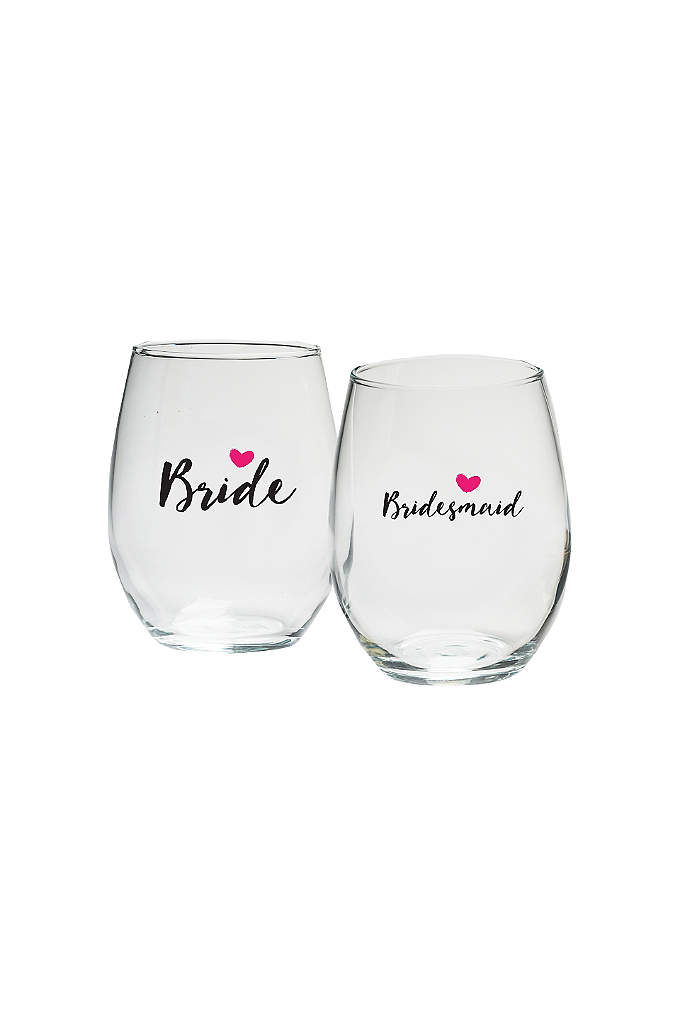Bridal Party Heart 15 oz Stemless Wine Set - These Bridal Party Heart 15 oz Stemless Wine