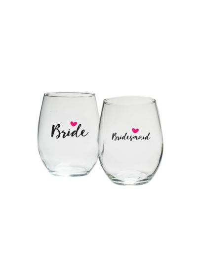 (Bridal Party Heart 15 oz Stemless Wine Set of 4)