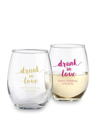 DB Exclusive Personalized Stemless Wine Glass 15oz - Wedding Gifts & Decorations