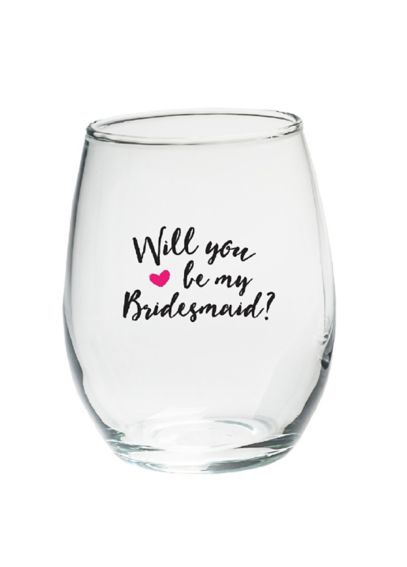 Be My Bridesmaid 15 oz Stemless Wine Set of 4 30023NA-WY4