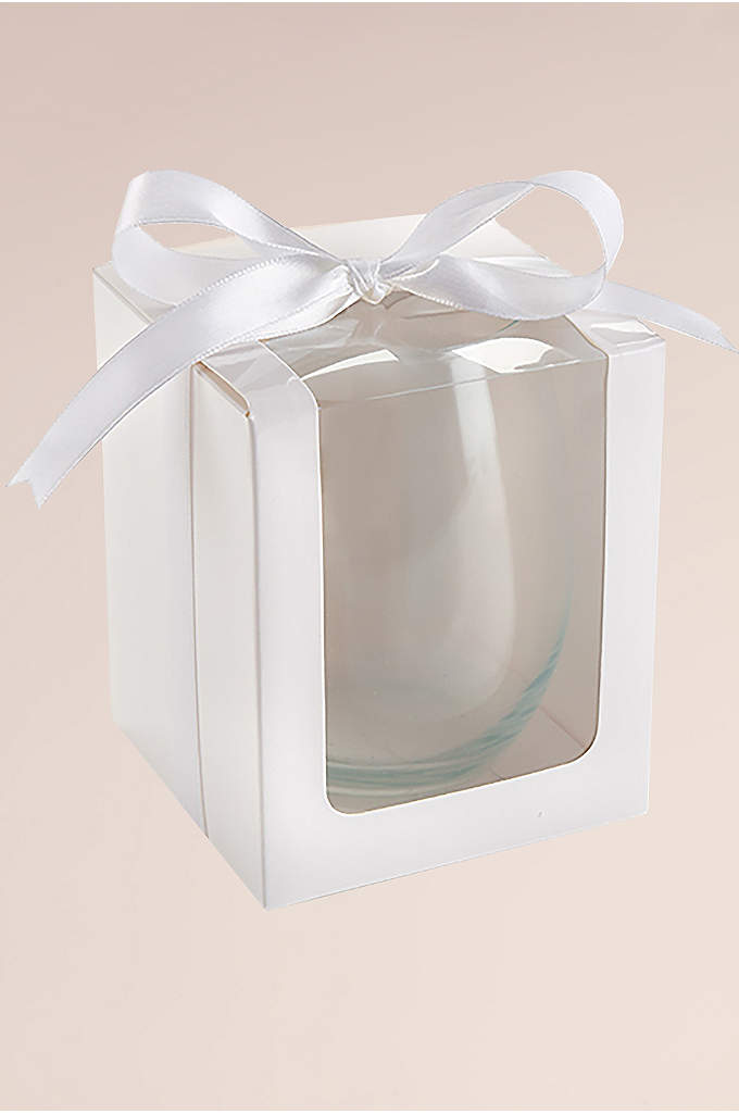 Stemless Wine Glass 15 oz Gift Box Set - Designed to show off your personalized wine glass