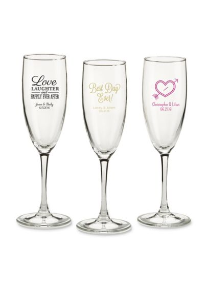 Personalized Wedding Theme Champagne Flutes - Wedding Gifts & Decorations