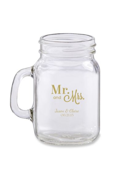 Personalized Mini Mason Jar Glass - Wedding Gifts & Decorations