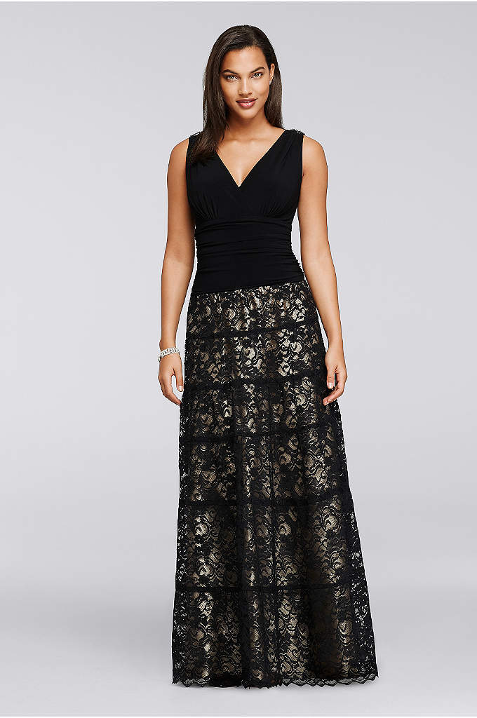 Ruched V-Neckline Long Lace Dress - Show off your figure in this floor-length dress