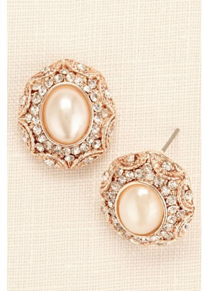 Large Button Pearl and Filigree Earrings 30178ERG