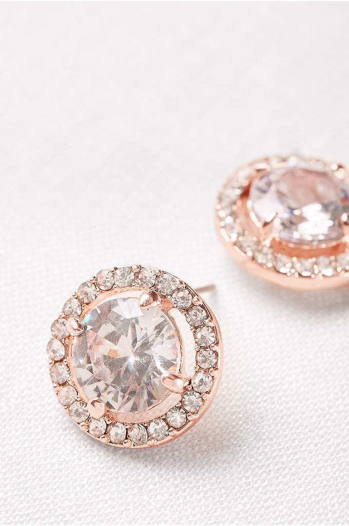 Pave Crystal Button Studs - A pave halo glitters around sizeable solitaire studs.