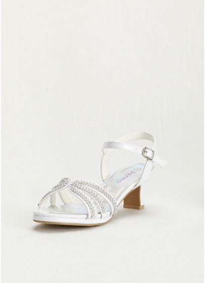 JP Originals White (Flower Girl Rhinestone Patent Strappy Sandal)