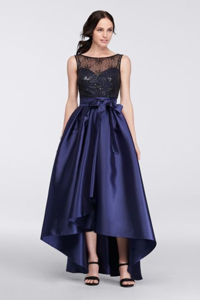 Mikado High Low Dress With Illusion Top Davids Bridal