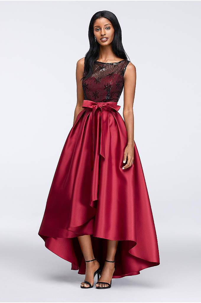 Mikado High-Low Dress with Illusion Top - With a pleated tulip skirt and sequined illusion