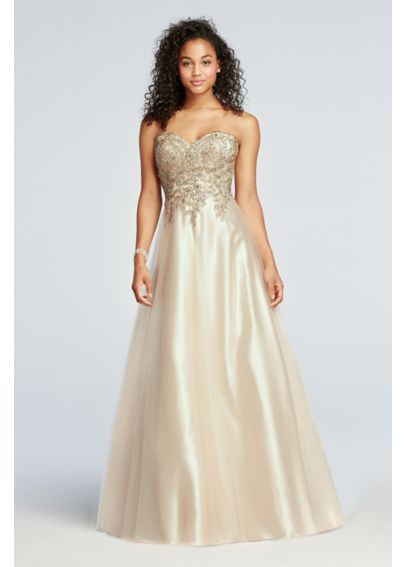 Strapless Tulle Prom Dress with Lace Embroidery 3035