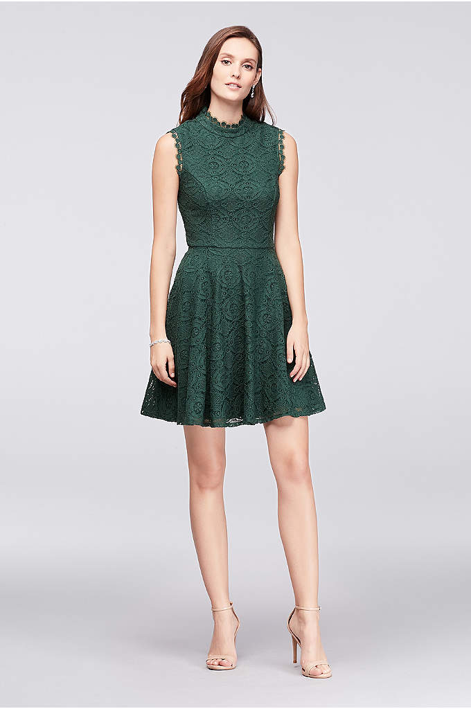 Mock-Neck Lace Fit-and-Flare Dress - A fun dress for weddings and more laidback