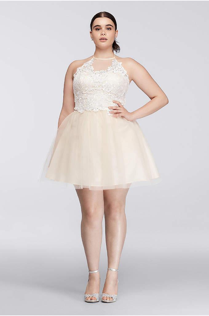 Short Halter Plus Size Dress with Beaded Bodice - Davids Bridal
