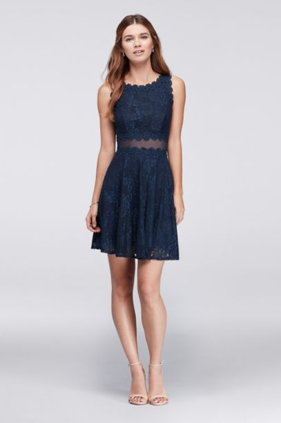 Scalloped Lace A Line Cocktail Dress David S Bridal