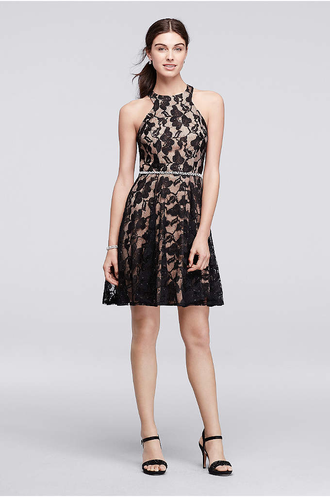 Lace Fit and Flare Halter Dress with Beaded - This party-ready lace dress is so flattering. The