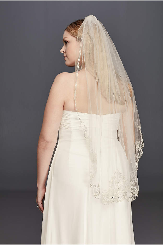 Metallic Mid Length Veil with Beaded Edge - A glamorous way to top of that perfect