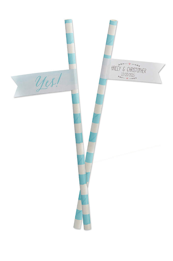 Personalized She Said Yes Party Straw Flags - It's time to get this party started with