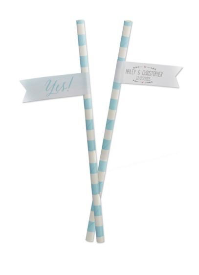 Personalized She Said Yes Party Straw Flags - Wedding Gifts & Decorations