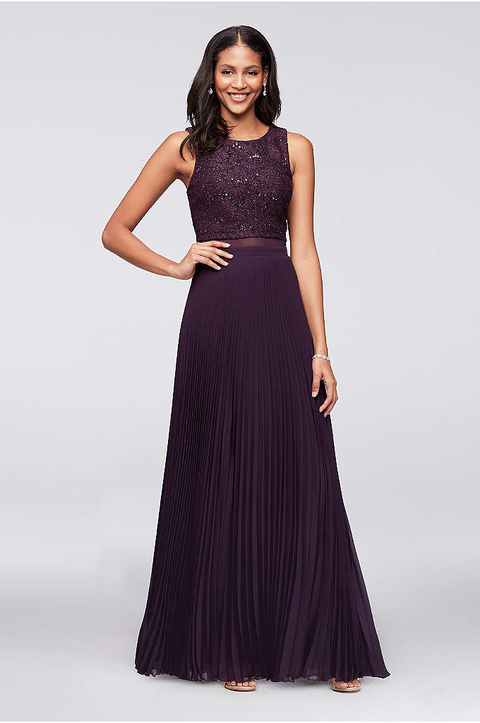 Sequined Faux Two-Piece Dress with Pleated Skirt - Skinny pleats make this long chiffon dress feel