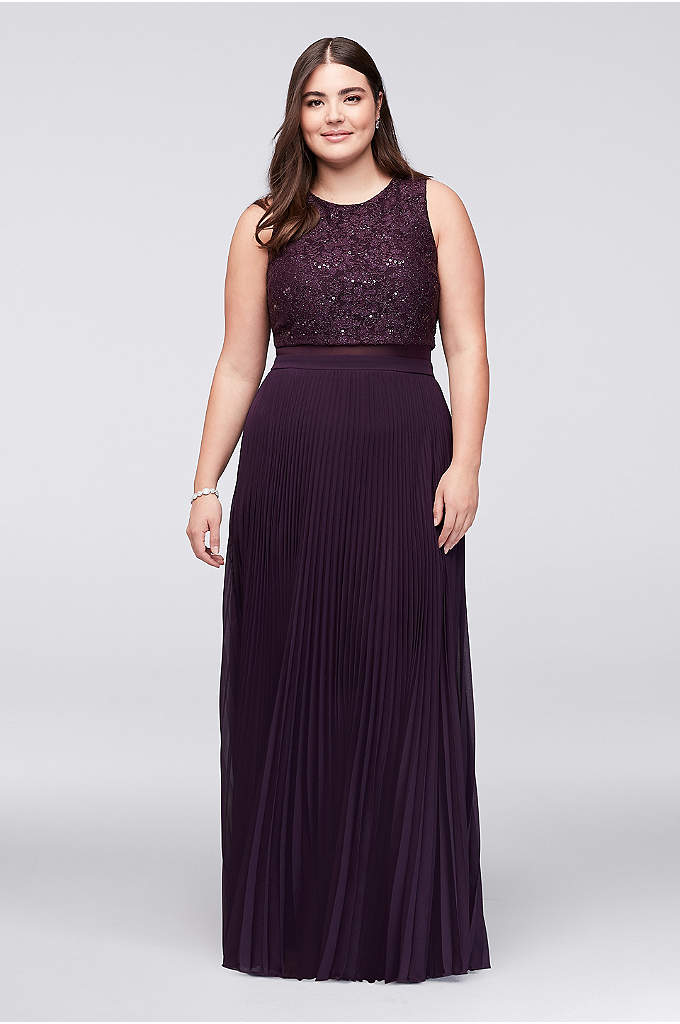 Faux Two-Piece Plus-Size Dress with Pleated Skirt - Skinny pleats make this long chiffon plus-size dress