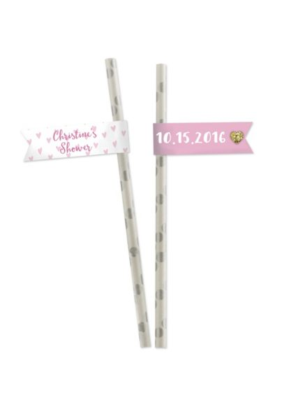 Personalized Sweet Heart Party Straw Flags - Wedding Gifts & Decorations