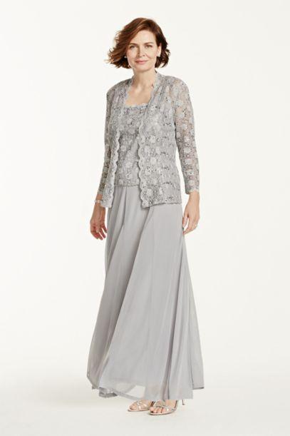 Two Piece Lace and Chiffon Jacket Dress - Davids Bridal