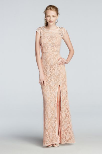 All Over Lace Prom Dress with Side Slit Skirt - Davids Bridal