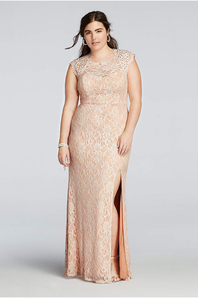 Beaded Cap Sleeve Prom Dress with Scalloped Neck - This simple and elegant dress was made for